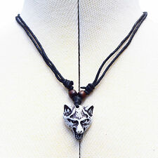 Wolf Head Resin Imitation Bone Pendant Necklace On Cotton Cord Adjustable Length