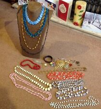 Genuine Vintage Costume Jewellery (Glass & Plastic ) Beads Earrings Brooches