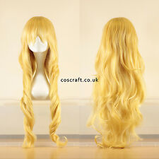 80cm long wavy curly cosplay wig in pale yellow blonde, UK seller, Jeri style