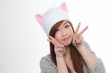 White beanie Kitty Cat ear hat cosplay anime manga goth punk ski snowboard warm