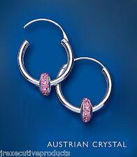 Alta calidad plata esterlina .925 Aro Pendientes Con Cristal De Rosa 18mm