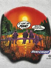 Vintage Bud Light 2 Sided T-Shirt 90's Fishing Beer Sunset Anheuser-Busch Bud