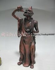 "14""China Red Bronze Copper Daoji Ji Gong Drinking Buddhist monk Buddha Statue"