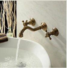 3pcs Antique Brass Bathroom Basin Sink Faucet Bath Tub Mixer Tap Wall Mounted