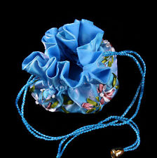 New Blue Handmade Embroidered Flower Silk Cosmetic Jewelry Bag Purse Pouch