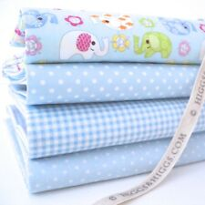 FQ Bundle - Ellie Elephant - Blue x 4 - Fat Quarter - Cotton Fabric Patchwork Qu
