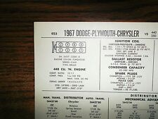 1967 Dodge Plymouth Chrysler Series Models 350HP 440 CI V8 Tune Up Chart