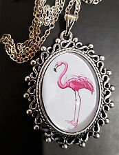 Pink Flamingo Ornate Antique Silver Pendant Necklace 1960's Divine Camp Kitsch