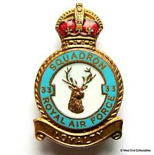 RAF 33 Fighter Squadron 1940s WW2 MILLER Brooch Badge - Royal Air Force Benson
