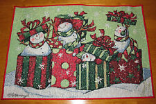 Snow Gifts Snowmen Christmas Tapestry Placemat ~ Artist, Susan Winget