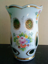 Antique Czech Moser BOHEMIAN Art Cut green Overlay vase