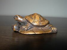 NETSUKE TORTOISE TURTLE LEAF (2) FIGURINE BOXWOOD JAPANESE HANDCARVED SIGNED