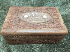 Vintage Hand Carved Crafted Wood Jewelry Trinket Box W/ Bone Inlay 6x4x2.5""