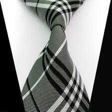 New Classic Black Gray White Striped 100%Silk Jacquard Woven Necktie Men's Tie