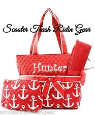 DIAPER BAG personalized baby tote RED white  Anchor nautical monogram NEW