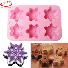 6-Snowflake Silicone Chocolate Mold Jelly Cookie Soap Mold Cake Decorating Mould