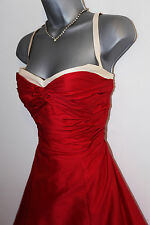 Auth. Monsoon Twilight Red Sweetheart Taffeta Silk Evening Dress Sz 14 Ball Gown