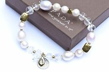 Silpada Down To Earth Stretch Bracelet Pearl Brass Sterling Silver B3168
