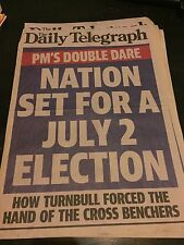 Nation Set For July 2 Election Daily Telegraph Newspaper Newsstand Poster 2016