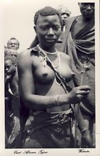 WAHUTU WOMAN EAST AFRICAN NAKED NUDE 1952 RPPC Photo Postcard KENYA Cancel