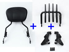 4 Point Docking Stealth Luggage Rack Sissy Bar Backrest Harley 2014-later
