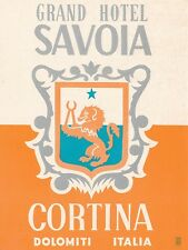Italy Cortina Grand Hotel Savoia Vintage Luggage Label sk1028