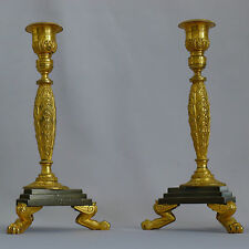 Beau français paire de doré et patiné bronze candlesticks circa 1830