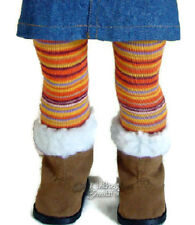"Orange Striped Winter Tights made for 18"" American Girl Doll Clothes Accessories"