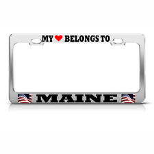 MY HEART BELONGS TO MAINE License Plate Frame USA FLAG Auto Tag Border