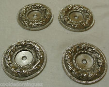 BRASS ROUND ORNATE FLORAL ETCHED SILVER  CABINET PLATES 1/4 INCH MOUNT Sale!