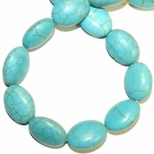 NG2945f Blue-Green Turquoise 18x13mm Flat Puff Oval Magnesite Gemstone Beads 15""