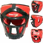 TurnerMAX Boxing Head Gear Martial Arts Helmet MMA Head Guard with Mask Red