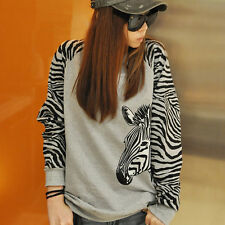 Women Zebra Printing Long Sleeve Hoodie Loose T-Shirt Pullover Tops Coat Gift