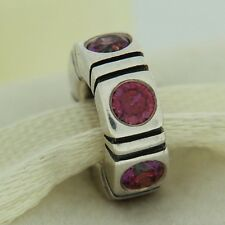 Authentic Pandora 790368CZR Trinity Red CZ Spacer Sterling Silver Bead Charm