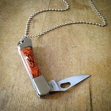 SALE! - Natural Wood Knife Pendant Necklace Silver Charm Jewelry Mini Folding