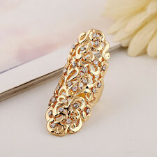 New Stylish Rhinestone Full Finger Joint Armor Knuckle Ring Hollow Out Jewelry