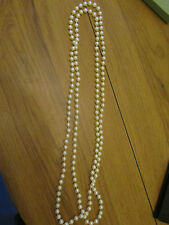 "Shiny Off White Faux Pearl Plastic Beads Necklace x 2 - 36"" long"