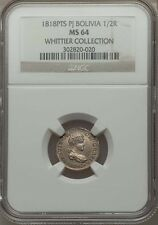 BOLIVIA SPANISH COLONIAL FERDINAND VII  1818-PJ 1/2 REAL COIN CERTIFIED NGC MS64