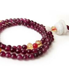 Tibet Buddhist Purple Jade Gemstone Prayer Beads Mala Jadeite Lotus Pendant