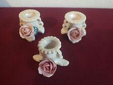 3 x Tisch Kerzen Ständer ENS Porzellan Rose