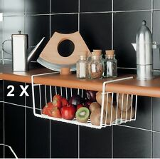 2 x KITCHEN UNDER SHELF STORAGE RACK HOLDER BASKETS UNDER SHELF BASKET