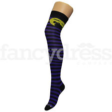 Purple Black Cat Witch Over the Knee Socks Fancy Dress Accessory Halloween NEW