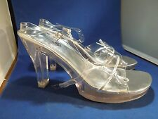 9M Michaelangelo Paula Clear High Heel Bridal Prom Shoes Made for David's Bridal