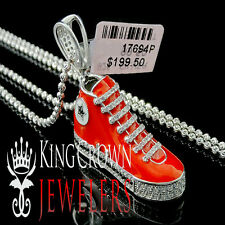 14k White Gold Finish Lab Diamond Sneaker Shoes Star Silver 925 Pendant + Chain