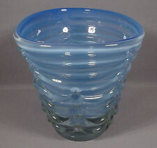 BIG VINTAGE MURANO ITALIAN ART GLASS VASE BLUE OPALESCENT DRAPED EXTERIOR SEGUSO