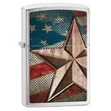 Zippo 28653, Retro Star & USA Flag, Brushed Chrome Finish Lighter, Full Size