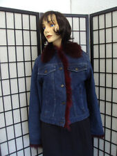 BRAND NEW BLUE DENIM JEAN JACKET W/ WINE RED FOX FUR TRIMMING WOMEN SIZE 8