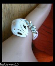 Snake Wrap Ring White Crystals Dull Gold Unusual Ring Gift for her Steampunk