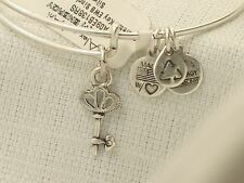 New Alex and Ani Russian Silver Skeleton Key Bracelet & Card