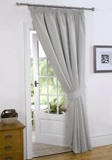 Silver  66'' x 84'' Supersoft Blackout Thermal Pencil Pleat  Door Curtain